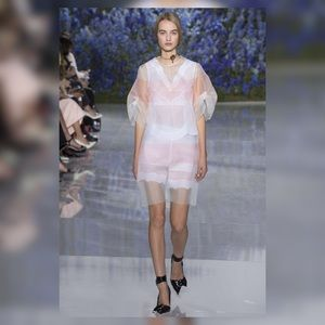 Christian Dior Pink White Sheer Stripe Dress